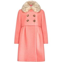 John Lewis Girl Faux Fur Collar Swing Coat, Coral ❤ liked on Polyvore featuring outerwear, coats, trapeze coat, red coat, faux fur collar coat, john lewis and swing coat