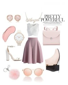 """""""pink"""" by leticiacliment ❤ liked on Polyvore featuring Chicwish, The Cambridge Satchel Company, Nine to Five, Topshop, Schutz, Monica Vinader, Michael Kors and NYX"""