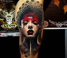 Three eyed girl tattoo by Michael Taguet