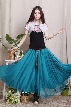 Beige Long Maxi Skirt High Waisted Soft Linen by LovingbeautyFur