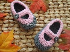 Grey & Pink handmade crochet Baby Mary Janes shoes make a great baby shower gift for a new mother!    Please stop by my Etsy shop at www.etsy.com/...for more baby booties, but also baby & toddler accessories.