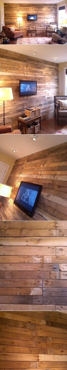 DIY Wood Pallet Wall. Love, very similar to the 'barn' look wall I made Dad do in our bathroom when I was a teen. Way ahead of my time ;-) !!