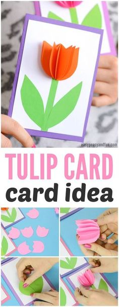 3D Tulip Card Idea for Mother's day. A fun Spring craft for kids to make.