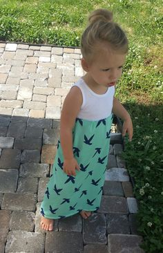Maxi dress birds of Paradise infant toddler sea by TheKnotProject