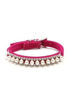 Adjustable Pearl and Crystal Pet Collar in Multi Colors