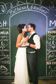 Bethânia e Tovão - Raoní Aguiar Fotografia - Fotografia de casamento - Wedding photography - Casamento de dia - Daytime wedding - Amor - Love - Brasil - Brazil - Decoração - Quadro negro - Giz