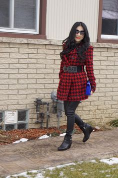 Street Style - A black and red houndstooth coat