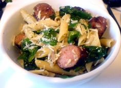 This recipe was inspired by my fabulous hair stylist, Amy. While her recipe was different, it got my wheels spinning and this is what came out! If you're not a fan of sausage, this recipe would also be great with some well seasoned grilled chicken breast (cut into chunks). Spinach and Sausage Pasta Total Recipe …