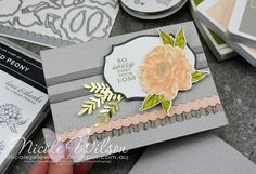 Nicole Wilson Independent Stampin' Up!® Demonstrator- Social Stamping Thinking of You using Prized Peony #stampinup #prizedpeony #nicolewilson #mypapercraftadventures #thinkingofyou #sorryforyourloss #peony #sympathy #socialstamping #peonydies #nolinewatercolouring Yearbook Covers, Yearbook Layouts, Yearbook Design, Magazine Layout Design, Book Design Layout, Sorry For Your Loss, Corporate Brochure Design, Peonies Garden, Basic Grey