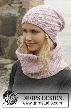 "Knitted DROPS hat and neck warmer in garter st with spiral pattern in ""Nepal"". ~ DROPS Design"