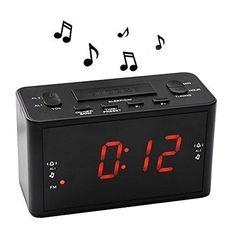 EBoot Rveil Alarme Horloge Double Avec Radio FM Batterie De Secours Minuteur Dormir