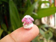 Cute Miniature Pink Sheep - Micro Crochet Tiny Sheep - Made to Order