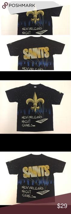 Vtg Starter New Orleans Saints All Over T Shirt L Vintage New Orleans Saints Starter T Shirt. All over Print. Double sided. Excellent shape. No holes, no stains, no rips. Men's Large. Made in USA. Only flaw may be some minor cracking in print, zoom in on pics of necessary. Rare shirt. Awesome design, front and back! Shipping same day or next day! Vintage Shirts Tees - Short Sleeve