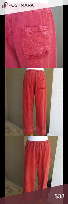 """PRODUCE COMPANY Comfy Boho Drawstring Pants Raw edges and floral embroidered hems and back pocket give these relaxed Boho flair. Saltwater washed distressed finish deeper red. 100% cotton like a soft twill. Machine wash cold tumble dry. Modeled by my size 6 mannequin, approx meas laid flat: W 13.5"""" across resting / 16"""" across stretched out, front rise 11"""", H 24"""" across, inseam 25"""", hem opening 8"""" across. Freshly laundered, clean inside and out, ready to wear! Produce Company Pants Ankle…"""