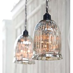 Studio Pendant Lamp - Mercury glass fluted pendant lamp, hanging from distress metal chain. Casts a soft glow, beautiful as an accent light.