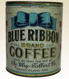 Blue Ribbon Brand Coffee Tin from thecuriousamerican on Ruby Lane Vintage Kitchenware, Vintage Tins, Vintage Coffee, Vintage Labels, Vintage Packaging, Coffee Is Life, Coffee Love, Coffee Break, Coffee Tin