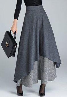 Layered High Waist Asymmetric Hem Grey Skirt on sa # Maxi Skirt Outfits, Dress Skirt, Dress Up, Fancy Dress, Waist Skirt, Look Fashion, Fashion Models, Womens Fashion, Women's Fashion Dresses