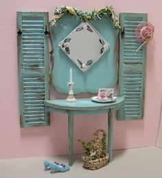 Dollhouse miniature painted furniture Hall Tree 1:12 scale Janet Peters