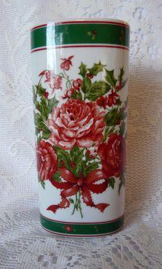 Lefton China Roses & Holly Porcelain China Christmas Vase 1990
