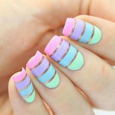 28 Casual Acrylic Nail Art Designs Ideas To Fascinate Your Admirers : Page 25 of 28 : Creative Vision Design New Nail Designs, Nail Designs Spring, Simple Nail Designs, Spring Design, Nagel Hacks, Spring Nail Colors, Summer Colors, Pastel Colors, Cute Spring Nails