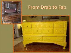 Yellow distressed dresser with refurbished oak top stained and sealed in poly.  Legs added for dresser height.