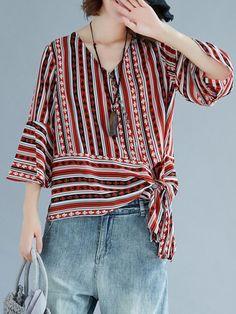 Folk Style Stripe Print Tie Sleeve V-neck Blouses Folk Style Stripe Print Tie Sleeve V-neck Blouses Folk Fashion, Fashion Sewing, Estilo Popular, Blouse Batik, New Blouse Designs, Cheap Blouses, V Neck Blouse, Blouse Styles, Sewing Clothes
