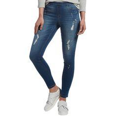 Hue Women's Paint Splatter Denim Leggings ($48) ❤ liked on Polyvore featuring pants, leggings, medium wash, stretch waist pants, jeggings leggings, hue jeggings, elastic waist pants and blue pants