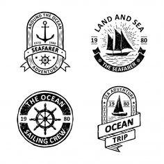Set of vintage sailing badges Premium Vector Free Vector Illustration, City Illustration, Sailing Logo, Memphis Pattern, How To Age Paper, Retro Background, Memphis Design, Wedding Card Design, Travel Design