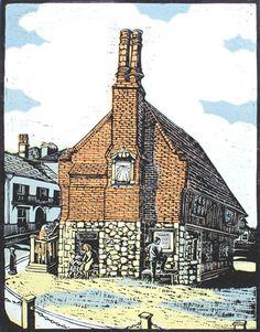 "The Moot Hall, Aldeburgh ""old fort"" . Shin Hanga ( lit. ""new prints"", ""new woodcut (block) prints"") , Woodblock by Judy Stevens"