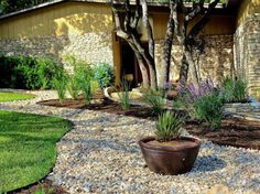 pflanzen blumentöpfe Gartengestaltung mit Kies und Steinen