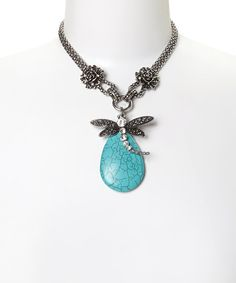 Silver & Turquoise Dragonfly Statement Pendant Necklace