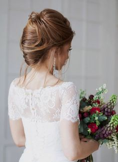 Try a variety of wedding hairstyles before you settle on your final look. If you are wearing a wedding dress with any beautiful back detail, a classic and romantic up-do is a perfect choice to show-off your wedding day look.   Fabulous Wedding Hairstyles from Elstile Part II #UpDo #WeddingBeauty