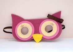 Wool Felt Owl Mask Children Pretend Play Dress by pixieandpenelope