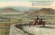 Postcard of sightseers, circa 1910, driving up Mount Rubidoux in Riverside, California via Huntington Drive.