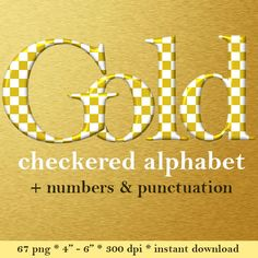Gold and white checkers digital alphabet clipart by LucyPlanet