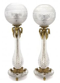 French Cut Glass and Gilt Bronze Mounted Oil Lamps
