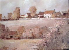 Roy Hewish large oil Duntisbourne Abbots Gloucestershire signed