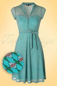 King Louie Blue Diamond Dress vintage. Love the style for a summer dress, just not the material.