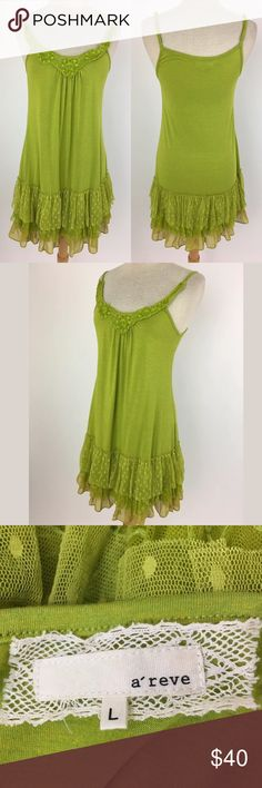 Anthropologie slip dress SKU: 15860 Length Shoulder To Hem: 36.5 Bust: 34 Waist: 36 Brands: A'Reve Fabric Content: 95% Rayon, 5% Spandex Lining Fabric: 100% Cotton Anthropologie Tops