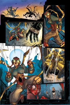 Steampunk Lady Spider short story - page 5 -   written by Robbie Thompson, drawn by ME , colors by Paolo Francescutto   out on Spider-Verse 1