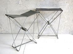 Vintage Pair Camp Stools Ultra Light by TheArtifactoryStudio, $45.00