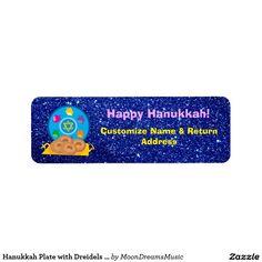#HanukkahPlate with #Dreidels #BlueFauxGlitter #ReturnAddressLabels by #MoonDreamsMusic