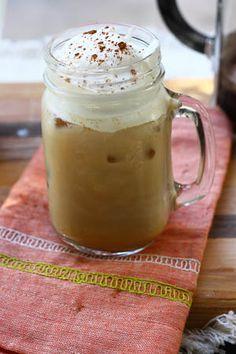 iced pumpkin spice latte recipe for all you pumpkin freaks! OK I'm a PUMPKIN FREAK so we will see. Homemade Pumpkin Spice Latte, Pumpkin Spiced Latte Recipe, Pumpkin Spice Coffee, Canned Pumpkin, Pumpkin Recipes, Fall Recipes, Iced Coffee, Diy Pumpkin, Coffee Shops