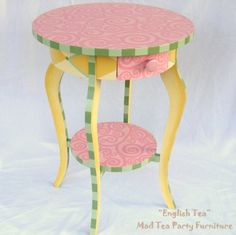Hand Painted Accent Table With Swirls Stirpes Dots