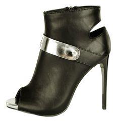 Pantofi Dama Iron  -Pantofi dama  -Detaliu argintiu  -Toc 11cm  -Design decupat  -Fermoar lateral interior Peeps, Peep Toe, Boots, Interior, Design, Fashion, Crotch Boots, Moda, Indoor