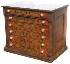 Spool cabinet, J. & P. Coats' oak 6-drwr w/mushroom knobs, orig transfer on drwrs & back panel, Exc