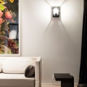 Lighting unit, wall surface mounted mounting (indoor and outdoor use) from Delta Light, named MONTUR M LED. Available in the colour(s) : alu grey, black, white. The unit is equiped with LED CLUSTER 6…