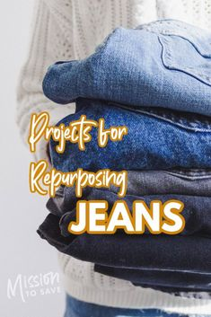 Check out this roundup of 26+ Repurposed Jeans Projects and other DIY ideas to upcycle old jeans. Rope Basket, Great Hobbies, Do It Yourself Crafts, Repurposed Items, Old Jeans, Frugal Living Tips, Recycling Bins, Easy Home Decor, Sewing Hacks
