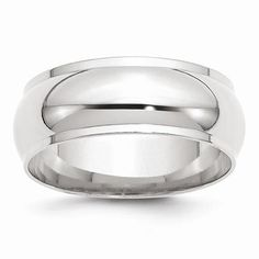 NEW SOLID 14K WHITE GOLD RING MENS 8MM HALF ROUND WITH EDGE WEDDING BAND SIZE 10
