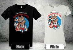 7d2a50c6be Fmwa world cup russia 2018 zabivaka mascot t-shirt black white colour 3 gp1